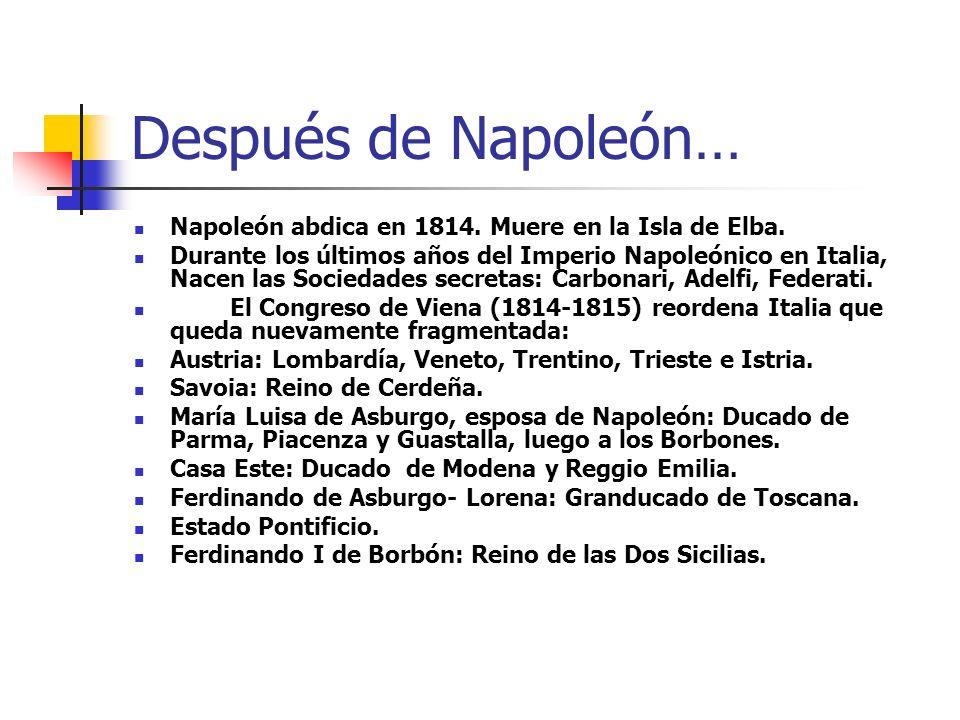 Después de Napoleón… Napoleón abdica en 1814. Muere en la Isla de Elba. Durante los últimos años del Imperio Napoleónico en Italia, Nacen las Sociedad