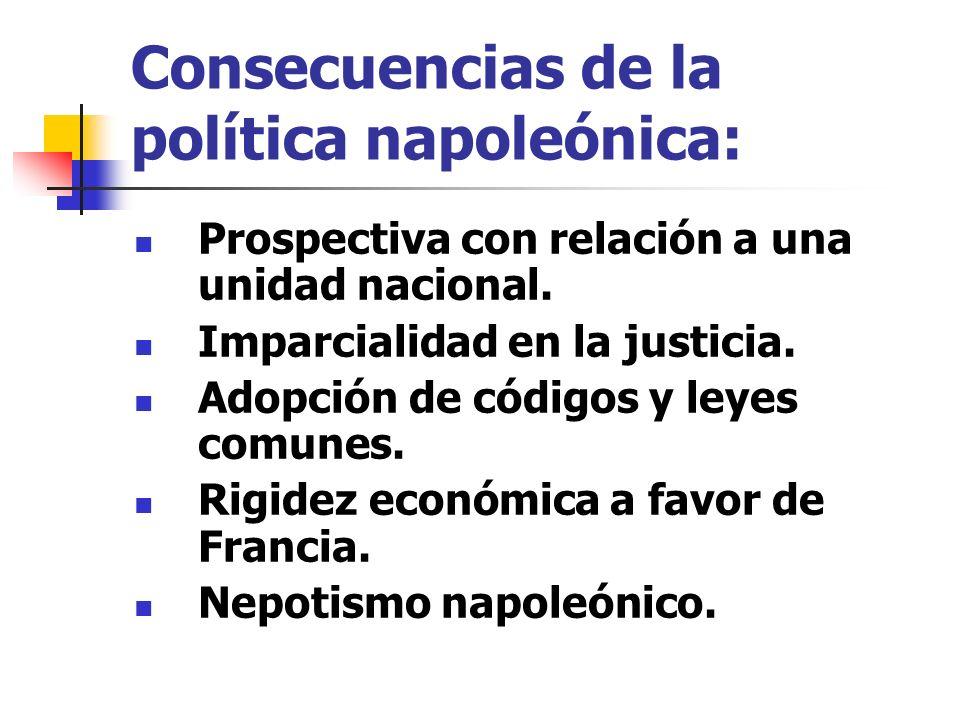 Consecuencias de la política napoleónica: Prospectiva con relación a una unidad nacional. Imparcialidad en la justicia. Adopción de códigos y leyes co