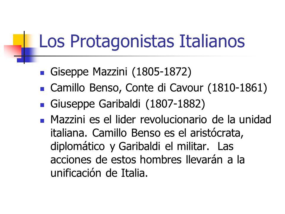 Los Protagonistas Italianos Giseppe Mazzini (1805-1872) Camillo Benso, Conte di Cavour (1810-1861) Giuseppe Garibaldi (1807-1882) Mazzini es el lider