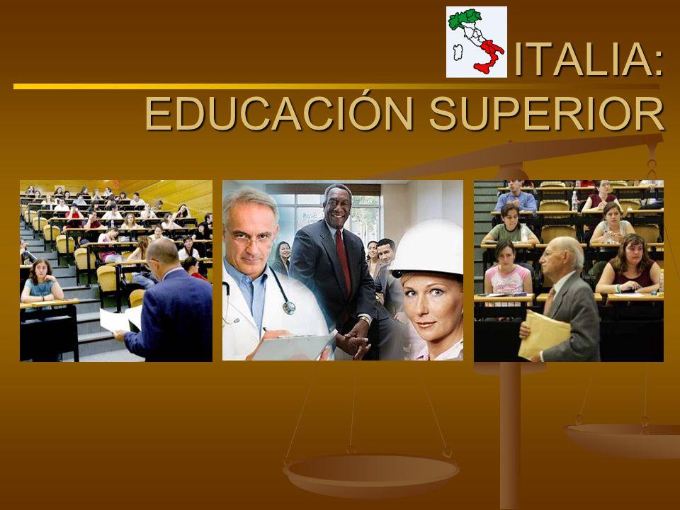 ITALIA: EDUCACIÓN SUPERIOR