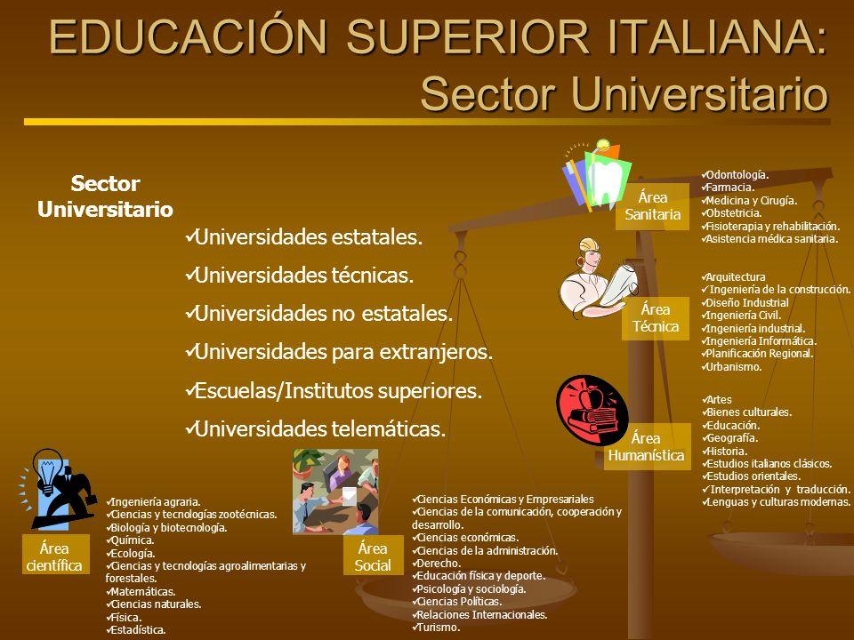 EDUCACIÓN SUPERIOR ITALIANA: Sector Universitario Sector Universitario Universidades estatales. Universidades técnicas. Universidades no estatales. Un