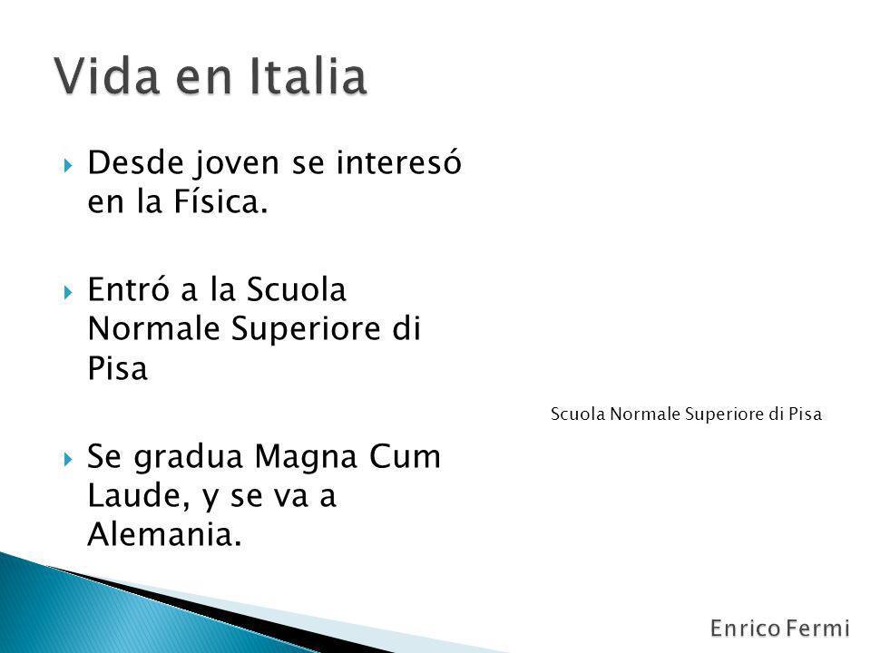 Desde joven se interesó en la Física. Entró a la Scuola Normale Superiore di Pisa Se gradua Magna Cum Laude, y se va a Alemania. Scuola Normale Superi