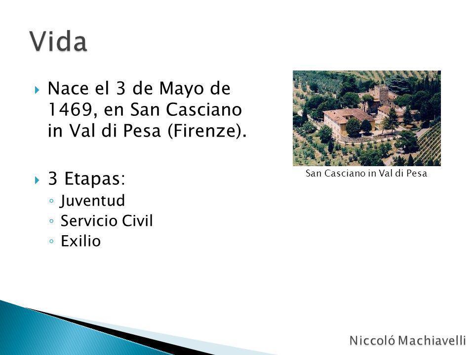 Nace el 3 de Mayo de 1469, en San Casciano in Val di Pesa (Firenze). 3 Etapas: Juventud Servicio Civil Exilio San Casciano in Val di Pesa