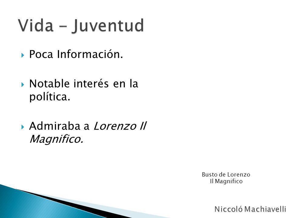 Poca Información. Notable interés en la política. Admiraba a Lorenzo Il Magnifico. Busto de Lorenzo Il Magnifico