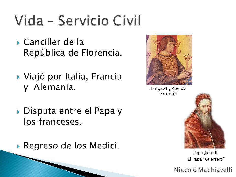 Canciller de la República de Florencia. Viajó por Italia, Francia y Alemania. Disputa entre el Papa y los franceses. Regreso de los Medici. Papa Julio
