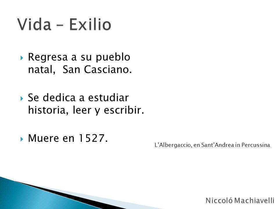 Regresa a su pueblo natal, San Casciano. Se dedica a estudiar historia, leer y escribir. Muere en 1527. LAlbergaccio, en SantAndrea in Percussina