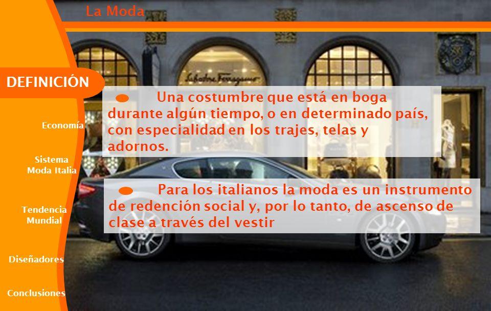 Una costumbre que está en boga durante algún tiempo, o en determinado país, con especialidad en los trajes, telas y adornos. Para los italianos la mod