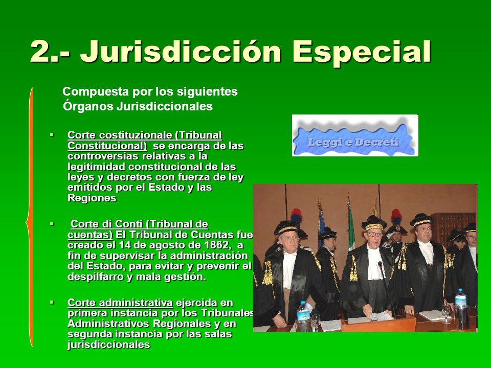 2.- Jurisdicción Especial Compuesta por los siguientes Órganos Jurisdiccionales Corte costituzionale (Tribunal Constitucional) se encarga de las contr