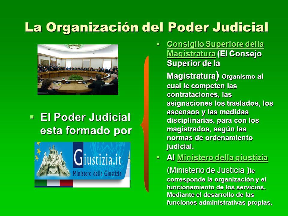 La Organización del Poder Judicial El Poder Judicial esta formado por El Poder Judicial esta formado por Consiglio Superiore della Magistratura (El Co