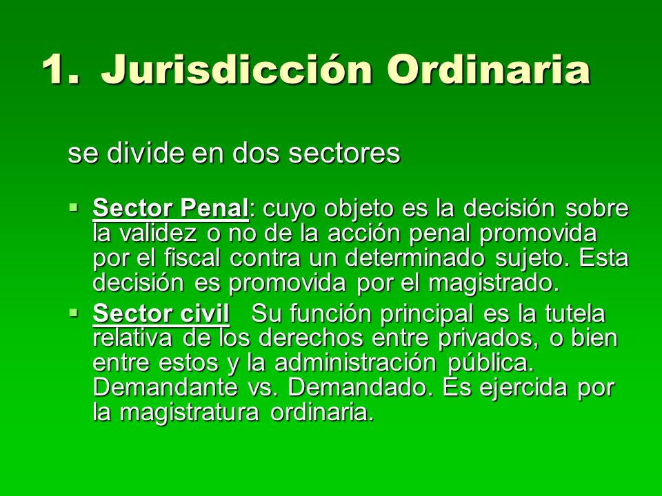 1.Jurisdicción Ordinaria se divide en dos sectores Sector Penal: cuyo objeto es la decisión sobre la validez o no de la acción penal promovida por el
