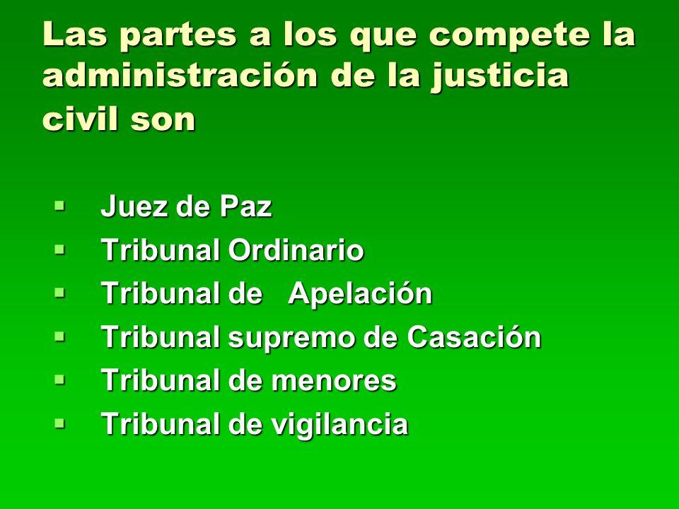 Las partes a los que compete la administración de la justicia civil son Juez de Paz Juez de Paz Tribunal Ordinario Tribunal Ordinario Tribunal de Apel
