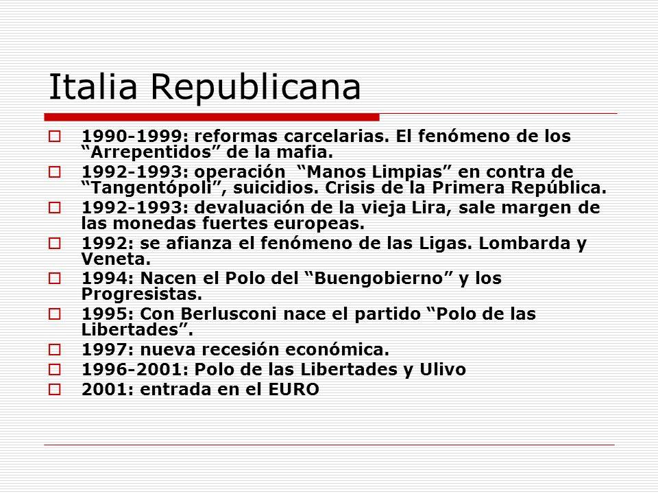 Italia Republicana 1990-1999: reformas carcelarias. El fenómeno de los Arrepentidos de la mafia. 1992-1993: operación Manos Limpias en contra de Tange