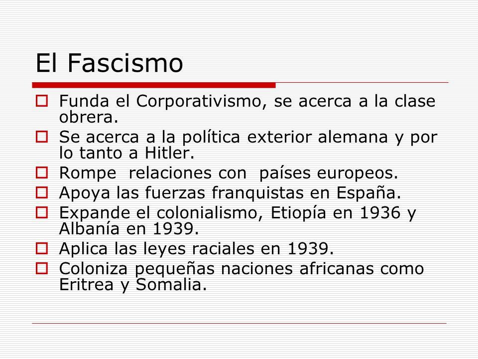 El Fascismo Funda el Corporativismo, se acerca a la clase obrera. Se acerca a la política exterior alemana y por lo tanto a Hitler. Rompe relaciones c