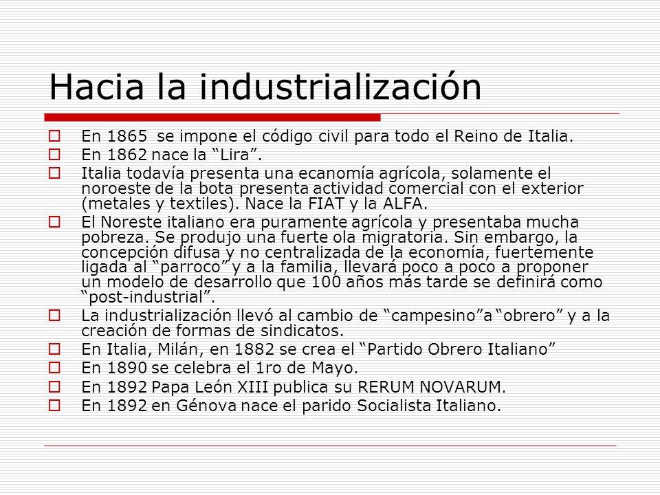 Hacia la industrialización En 1865 se impone el código civil para todo el Reino de Italia.