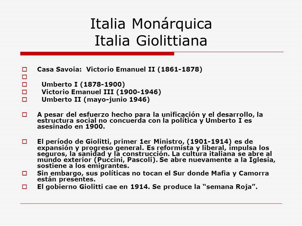 La Primera Guerra Mundial 1914-18 En política exterior, Italia primero se acerca a la Alianza triple (con Austria y Alemania) pero crea buenas relaciones con Francia, Inglaterra y Rusia La Intesa.