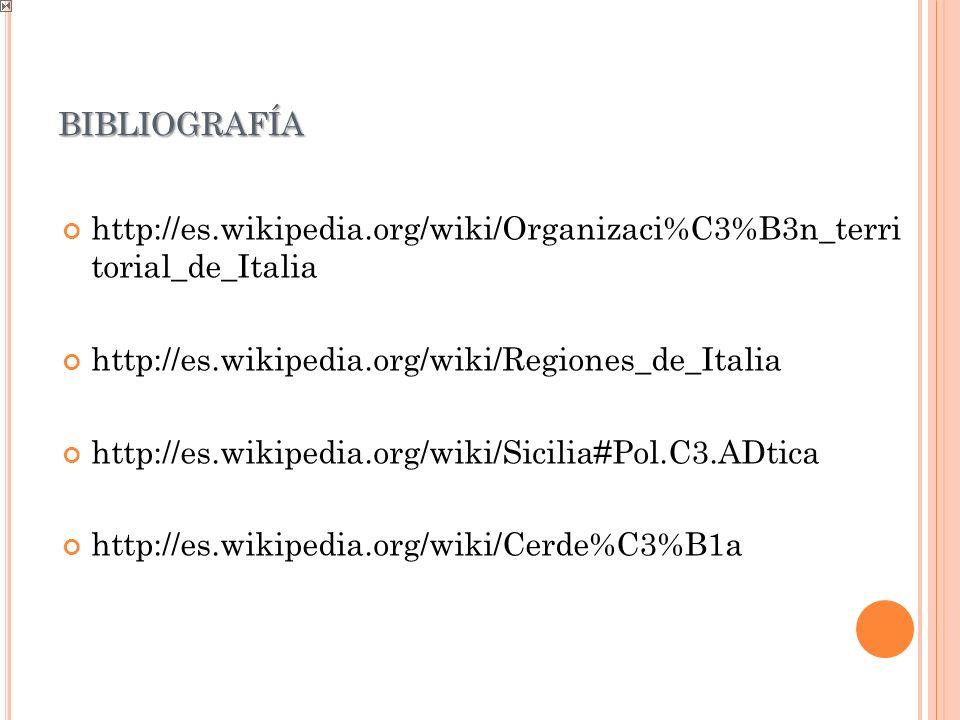 BIBLIOGRAFÍA http://es.wikipedia.org/wiki/Organizaci%C3%B3n_terri torial_de_Italia http://es.wikipedia.org/wiki/Regiones_de_Italia http://es.wikipedia