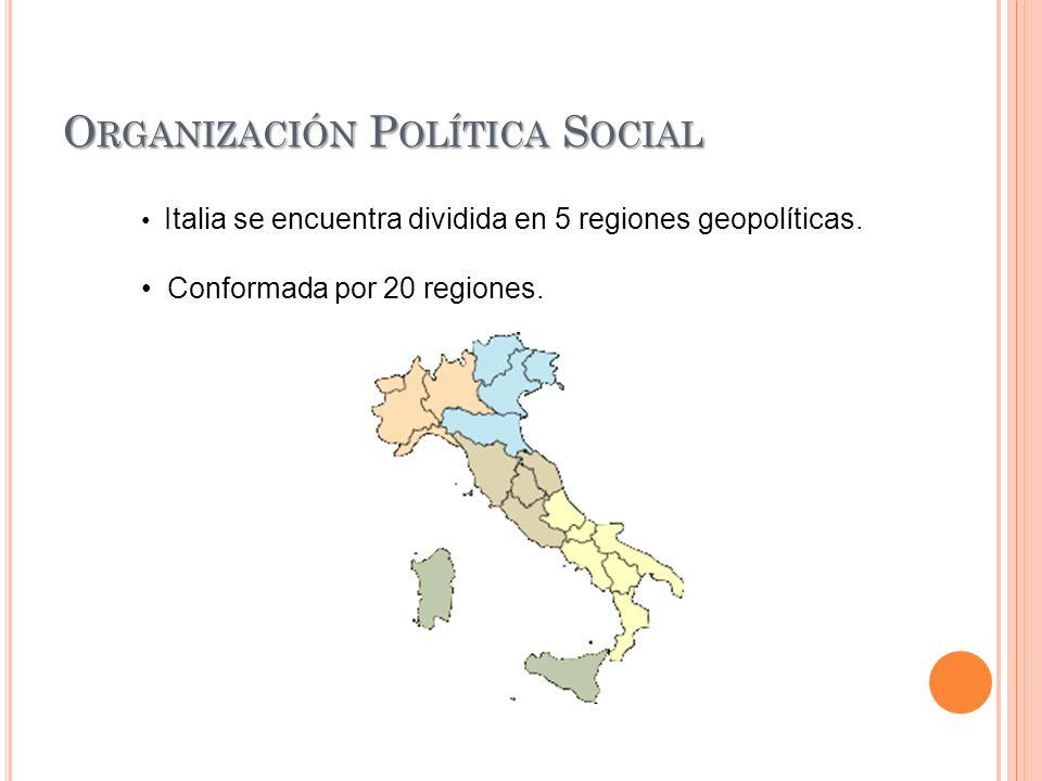 O RGANIZACIÓN P OLÍTICA S OCIAL Italia se encuentra dividida en 5 regiones geopolíticas. Conformada por 20 regiones.