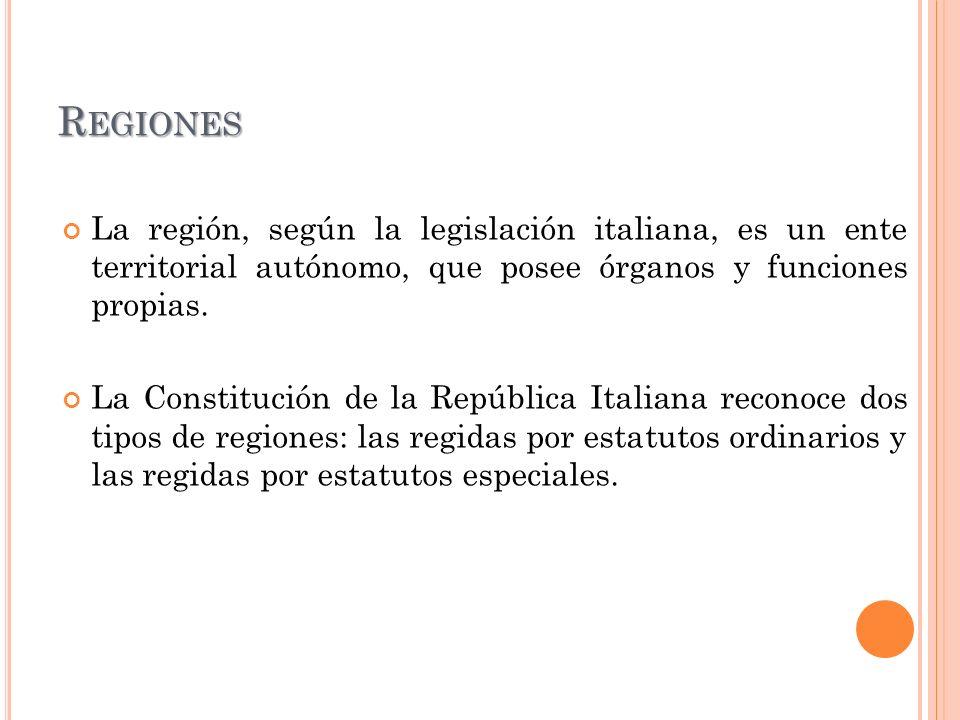 R EGIONES La región, según la legislación italiana, es un ente territorial autónomo, que posee órganos y funciones propias. La Constitución de la Repú