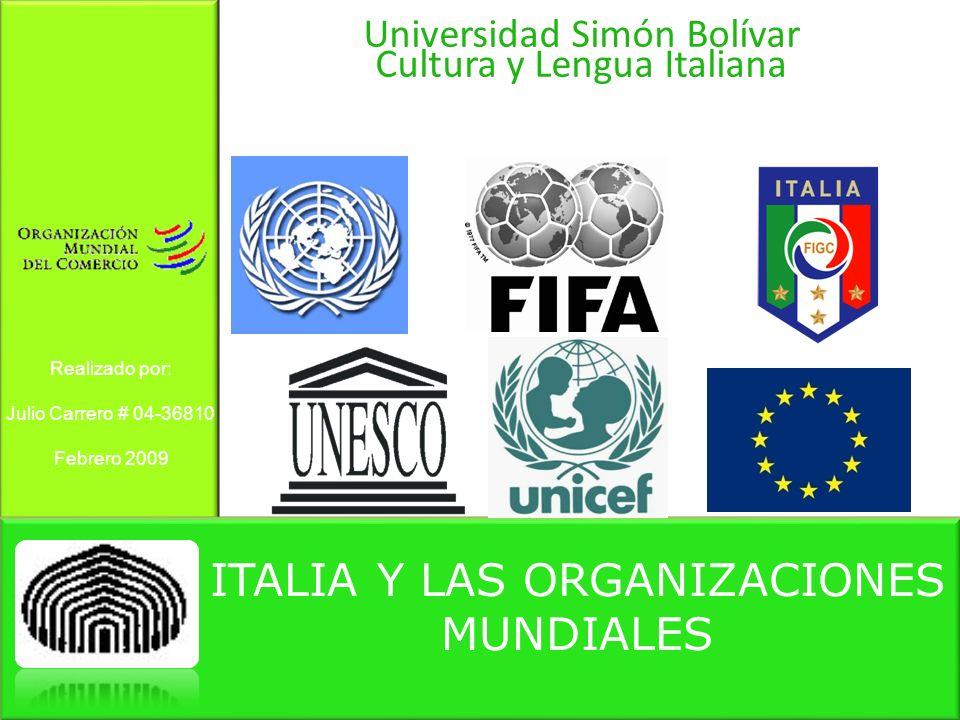 ITALIA Y LAS ORGANIZACIONES MUNDIALES Universidad Simón Bolívar Cultura y Lengua Italiana Realizado por: Julio Carrero # 04-36810 Febrero 2009