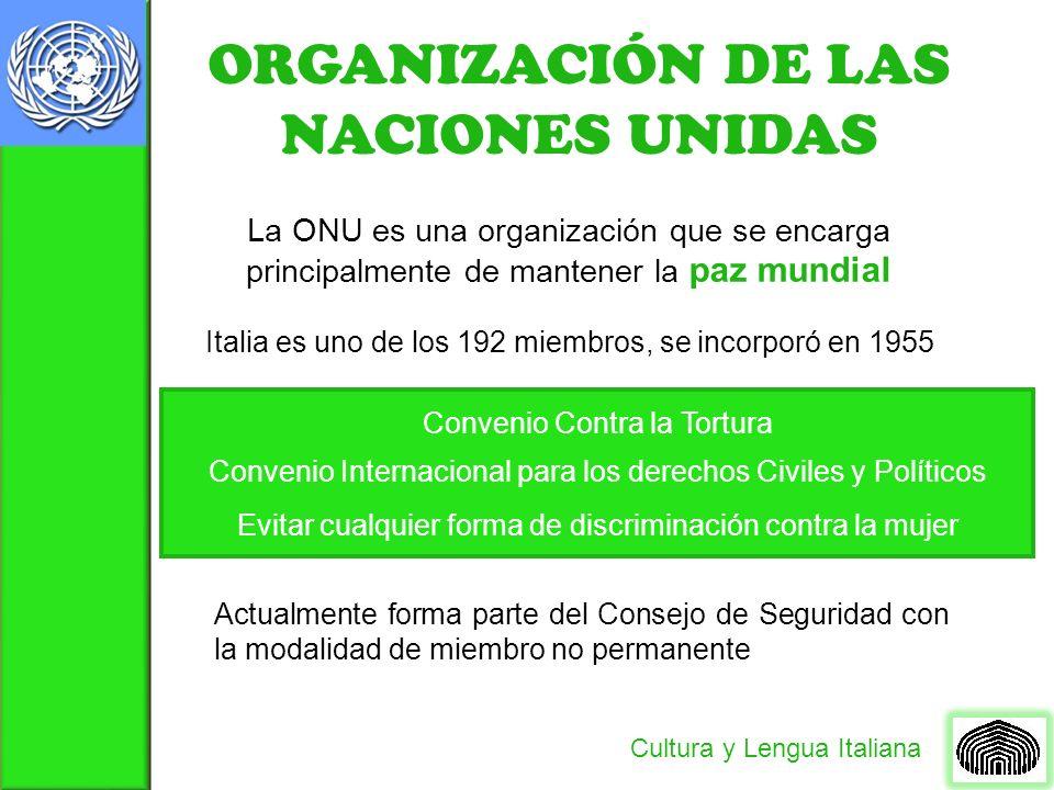 ORGANIZACIÓN DE LAS NACIONES UNIDAS Cultura y Lengua Italiana La ONU es una organización que se encarga principalmente de mantener la paz mundial Ital
