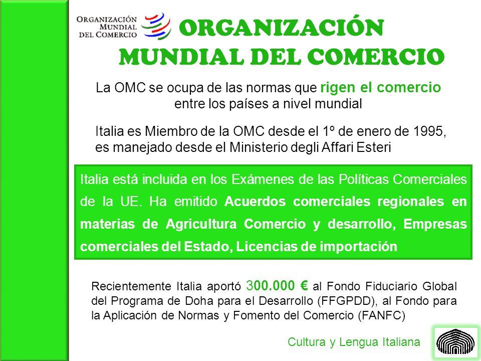 ORGANIZACIÓN MUNDIAL DEL COMERCIO Cultura y Lengua Italiana La OMC se ocupa de las normas que rigen el comercio entre los países a nivel mundial Itali