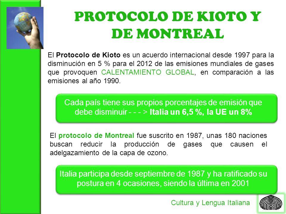 PROTOCOLO DE KIOTO Y DE MONTREAL Cultura y Lengua Italiana El Protocolo de Kioto es un acuerdo internacional desde 1997 para la disminución en 5 % par
