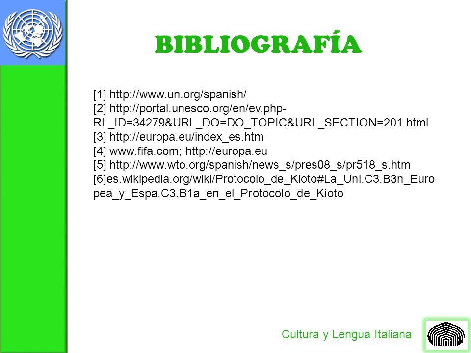 BIBLIOGRAFÍA Cultura y Lengua Italiana [1] http://www.un.org/spanish/ [2] http://portal.unesco.org/en/ev.php- RL_ID=34279&URL_DO=DO_TOPIC&URL_SECTION=