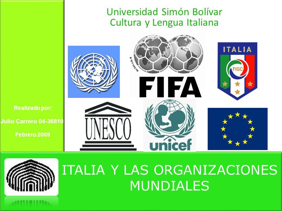 ITALIA Y LAS ORGANIZACIONES MUNDIALES Universidad Simón Bolívar Cultura y Lengua Italiana Realizado por: Julio Carrero 04-36810 Febrero 2009