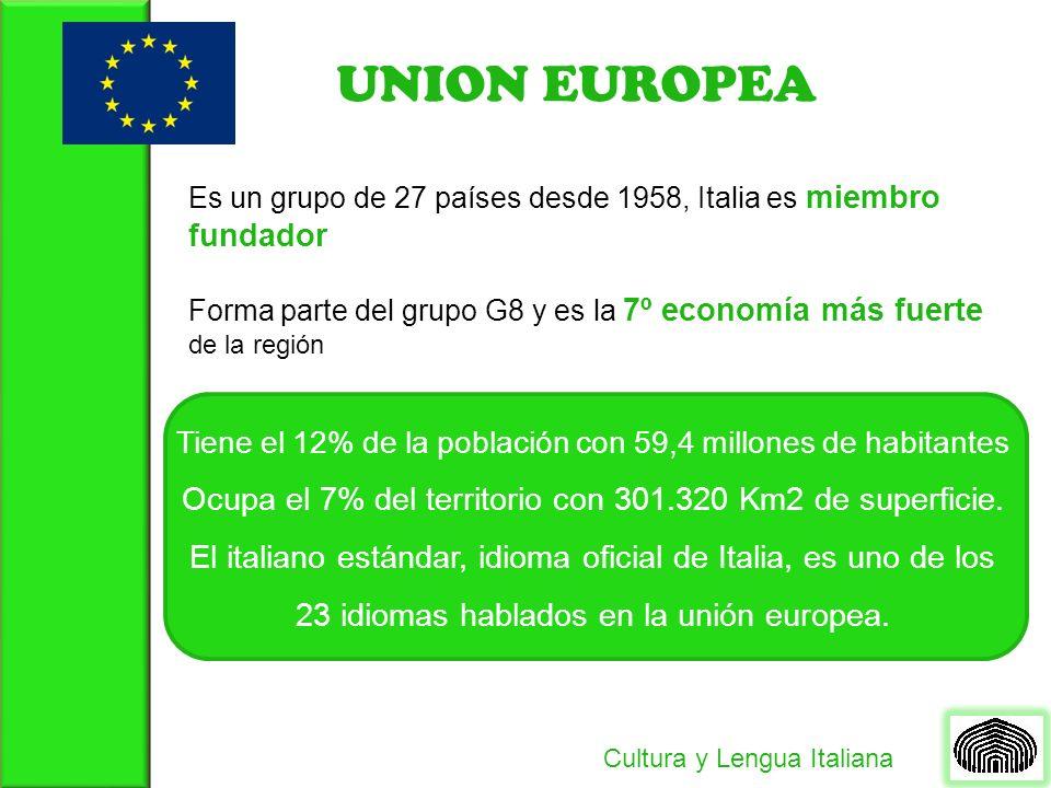 UNION EUROPEA Es un grupo de 27 países desde 1958, Italia es miembro fundador Tiene el 12% de la población con 59,4 millones de habitantes Ocupa el 7% del territorio con 301.320 Km2 de superficie.