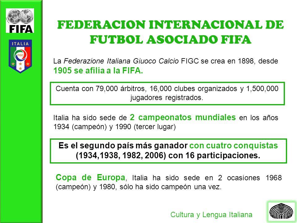 FEDERACION INTERNACIONAL DE FUTBOL ASOCIADO FIFA La Federazione Italiana Giuoco Calcio FIGC se crea en 1898, desde 1905 se afilia a la FIFA.