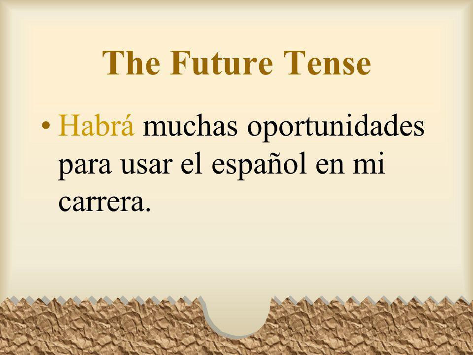 The Future Tense There is a future tense form of HABER: Habrá It means: there will be