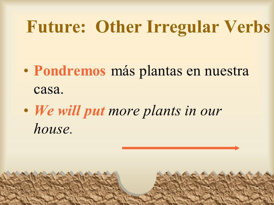 Future: Other Irregular Verbs En el futuro dirán que la destrucción de las selvas tropicales causó muchos problemas ecológicos. In the future they wil