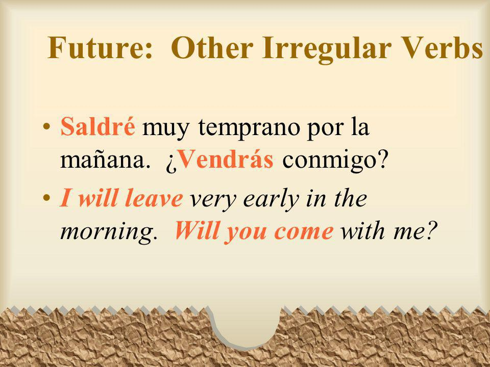 Future: Other Irregular Verbs Querremos luchar contra la guerra y por la paz. We will want to fight against war and for peace.