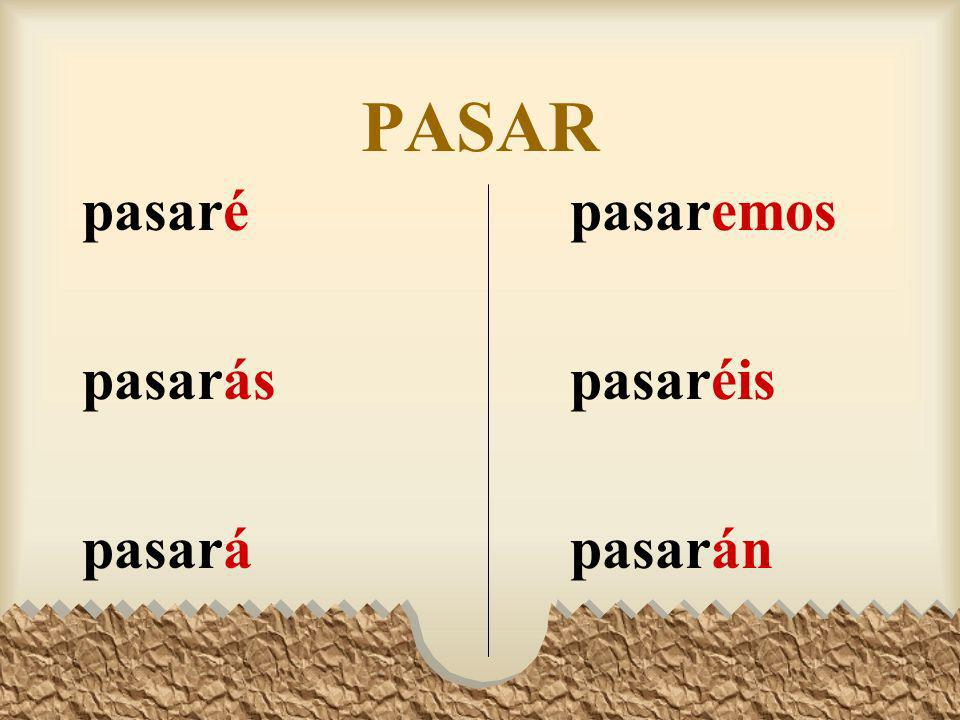 The Future Tense Here are all the forms of pasar, aprender, and pedir in the future tense.