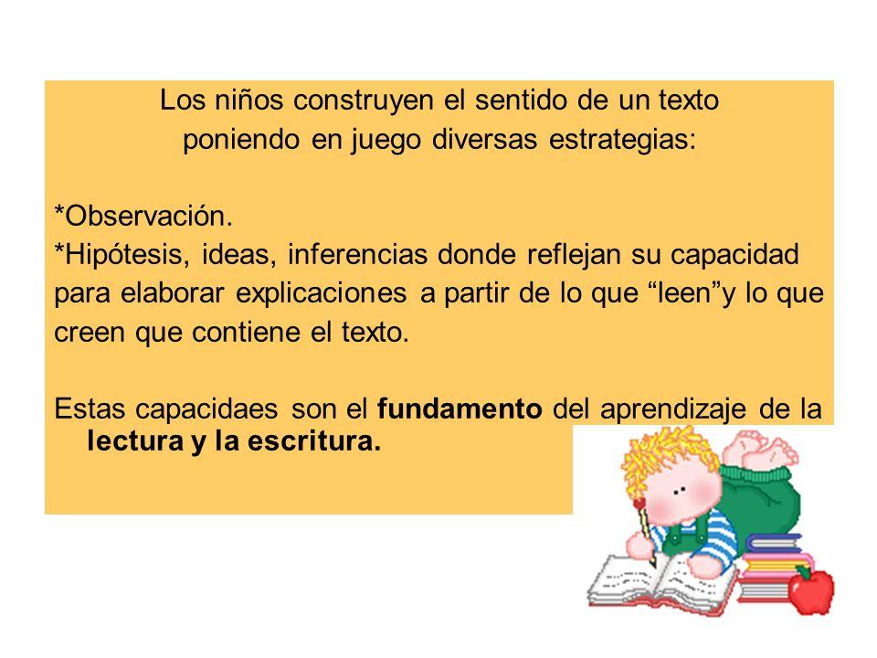 Los niños construyen el sentido de un texto poniendo en juego diversas estrategias: *Observación. *Hipótesis, ideas, inferencias donde reflejan su cap