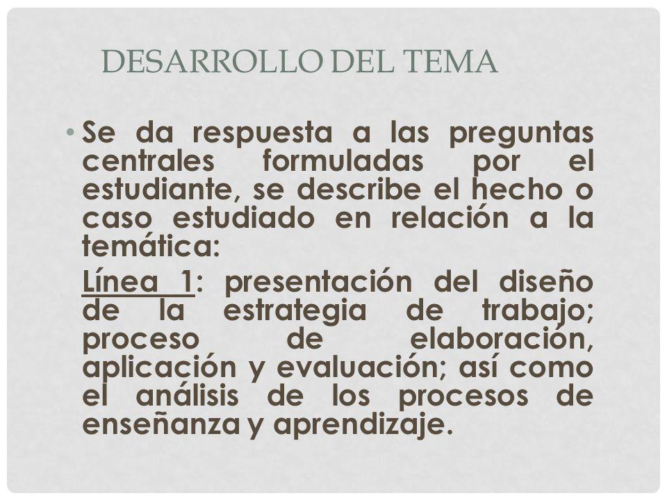 DESARROLLO DEL TEMA Se da respuesta a las preguntas centrales formuladas por el estudiante, se describe el hecho o caso estudiado en relación a la tem