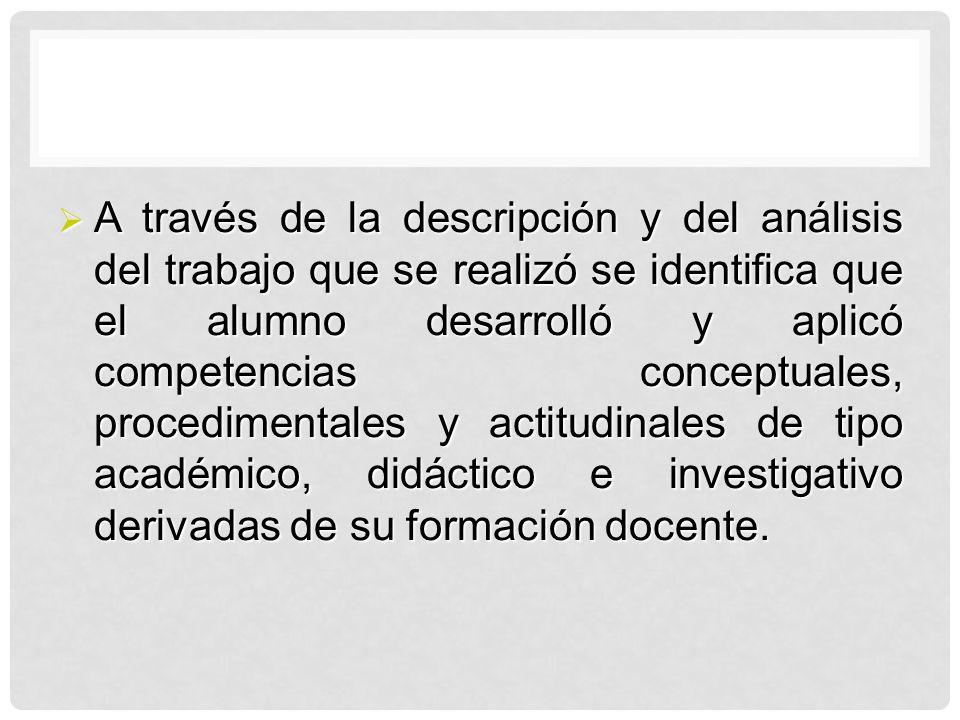 A través de la descripción y del análisis del trabajo que se realizó se identifica que el alumno desarrolló y aplicó competencias conceptuales, proced