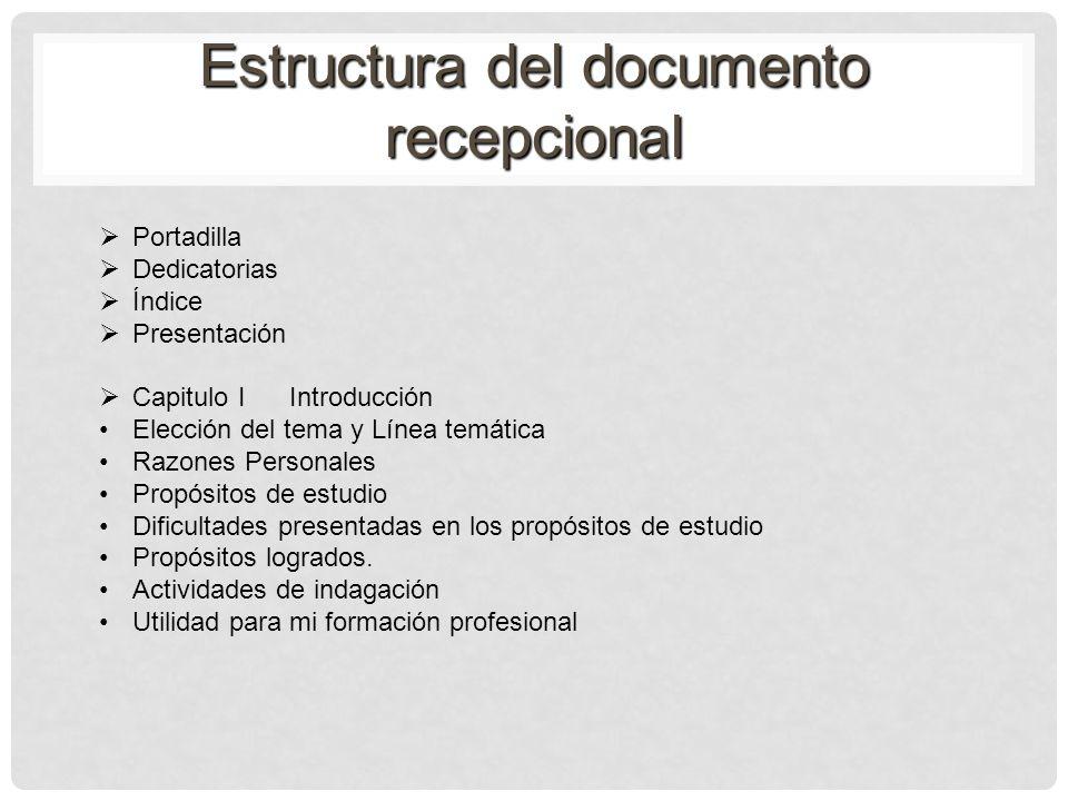 Estructura del documento recepcional Portadilla Dedicatorias Índice Presentación Capitulo I Introducción Elección del tema y Línea temática Razones Pe