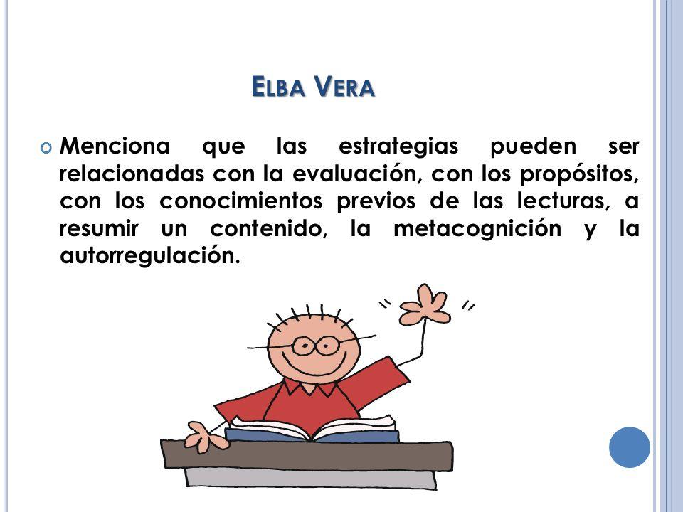 E LBA V ERA Menciona que las estrategias pueden ser relacionadas con la evaluación, con los propósitos, con los conocimientos previos de las lecturas,