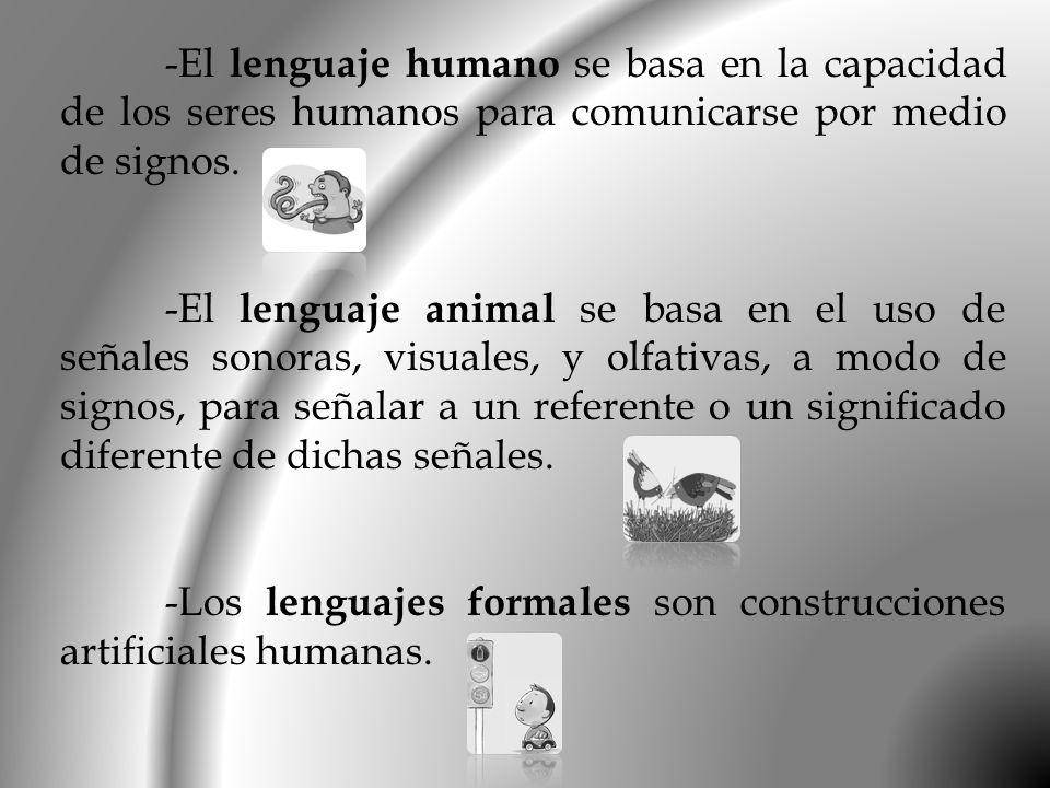-El lenguaje humano se basa en la capacidad de los seres humanos para comunicarse por medio de signos. -El lenguaje animal se basa en el uso de señale