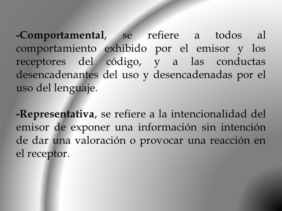 -Comportamental, se refiere a todos al comportamiento exhibido por el emisor y los receptores del código, y a las conductas desencadenantes del uso y