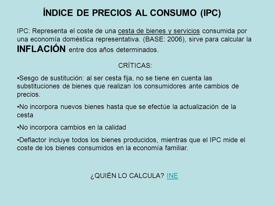 ÍNDICE DE PRECIOS AL CONSUMO (IPC) IPC: Representa el coste de una cesta de bienes y servicios consumida por una economía doméstica representativa. (B
