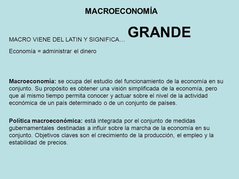 Macroeconomía: se ocupa del estudio del funcionamiento de la economía en su conjunto. Su propósito es obtener una visión simplificada de la economía,