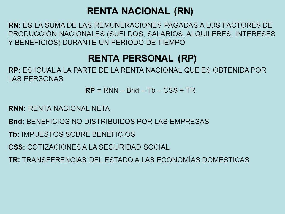 RENTA NACIONAL (RN) RN: ES LA SUMA DE LAS REMUNERACIONES PAGADAS A LOS FACTORES DE PRODUCCIÓN NACIONALES (SUELDOS, SALARIOS, ALQUILERES, INTERESES Y B