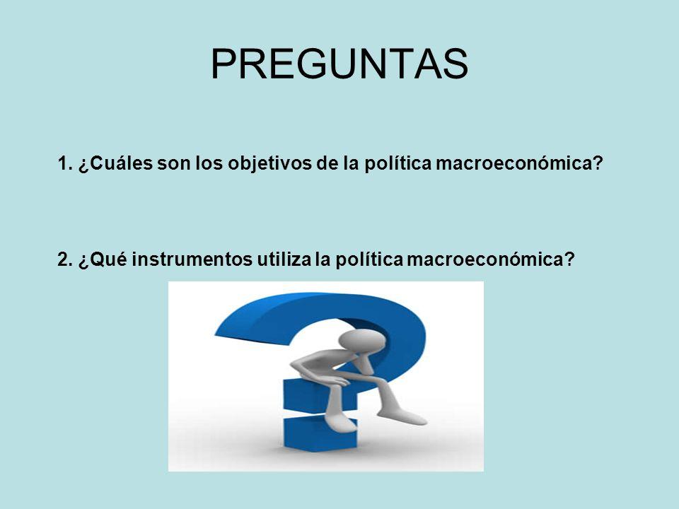 PREGUNTAS 1. ¿Cuáles son los objetivos de la política macroeconómica? 2. ¿Qué instrumentos utiliza la política macroeconómica?
