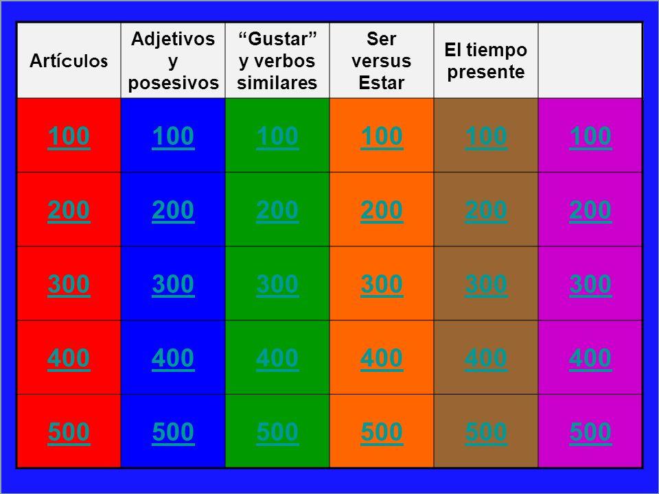 Art ículos Adjetivos y posesivos Gustar y verbos similares Ser versus Estar El tiempo presente 100 200 300 400 500
