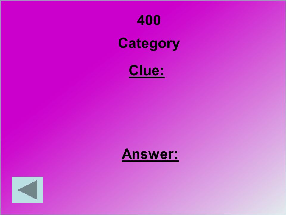 400 Category Clue: Answer:
