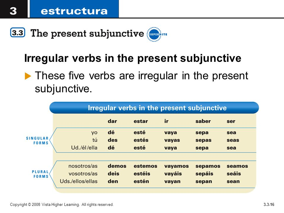 Copyright © 2008 Vista Higher Learning. All rights reserved.3.3-16 Irregular verbs in the present subjunctive These five verbs are irregular in the pr