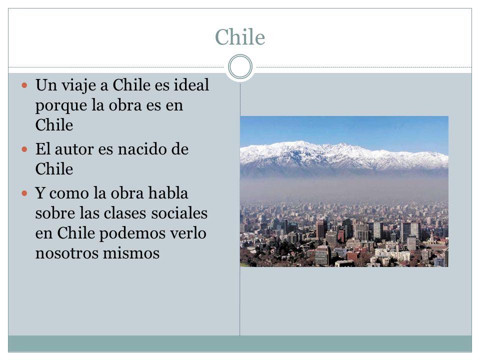 Chile Un viaje a Chile es ideal porque la obra es en Chile El autor es nacido de Chile Y como la obra habla sobre las clases sociales en Chile podemos