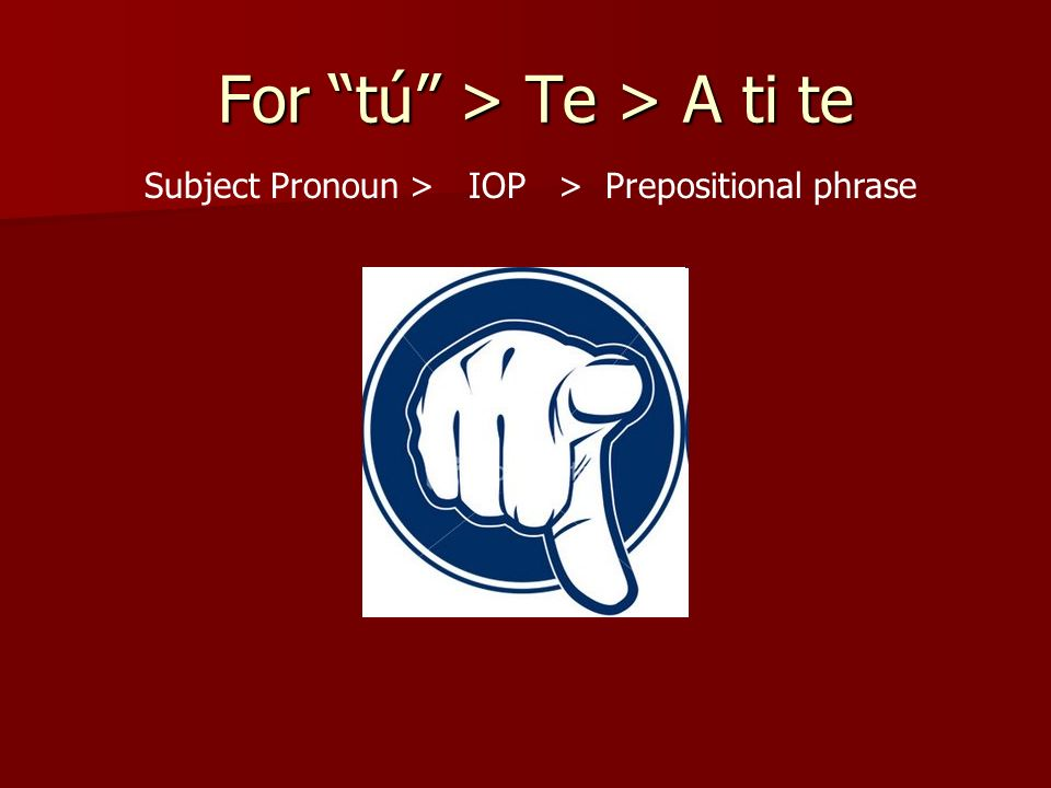 For tú > Te > A ti te For tú > Te > A ti te Subject Pronoun > IOP > Prepositional phrase